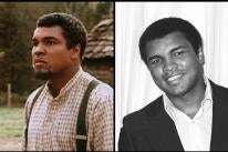 "Muhammad Ali in 1979 and in a scene from ""Freedom Road'"