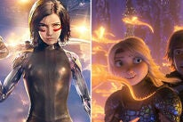 """Scenes from  """"Alita: Battle Angel"""" and """"How to Train Your Dragon: The Hidden World"""""""