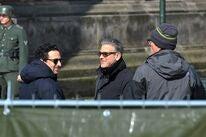 George George Clooney filiming Monuments Men at Berlin's Babelsberg Studios, 2013