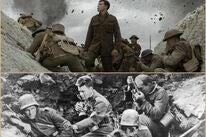 """Scenes from """"1917"""" and """"All Quiet on the Western Front"""""""