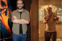 Director Fede Alvarez and a scene from hois movie Don't Breathe