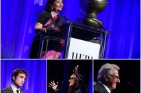 HFPA president Meher Tatna and presenters Robert Pattinson, Ava DuVernay and Dustin Hoffman