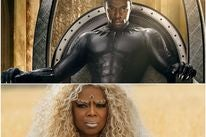 """Chadwick Boseman in a scene from """"Black Panther"""", Oprah Winfrey ina  scene from """"A Wrinkle in Time"""""""