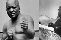 "James Eral Jones  in the film ""The Great White Hope"" and the real Jack Johnson,"