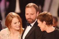 Director Yorgis Lanthomos and stars Emma Stone and Olivia Colman, Venice 2018