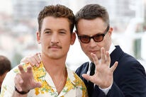 Acror Miles Teller and director Nicolas Winding Refn at Cannes 2019