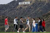 A scene of the coronavirus pandemic in Hollywood