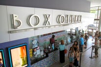 A box office, US movie theater