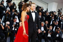 Actor and producer Matt Damon, Golden Globe winner, and wife Luciana Damon