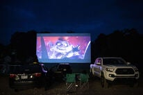 The moviee Trolls World our shown at a North Caroline Drive-In, May 2020