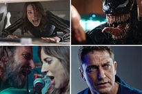 "Scenes from ""Halloween"", ""Venom"", ""A Star is Born"" and ""Hunter Killer"""