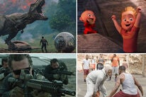 Scenes from: Jurassic World: Fallen Kingdom, Incredibles 2, Sicario: Day of the Soldado and Uncle Drew