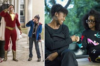 Zachary Levi with Jack Dylan Grazer in Shazam! (2019) and Issa Rae with Marsai Martin in Little (2019)