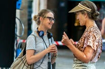 """Suzanne Heathcote on set of """"Killing Eve"""" with Dame Harriet Walter"""
