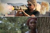 """Linda Hamilton in """"Terminator: Dark Fate"""" (2019), Cynthia Erivo in """"Harriet"""" (2019)"""