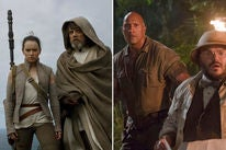 """Scenes from """"Star Wars: The Last Jedi"""" and """"Jumanji: Welcome to the Jungle"""""""