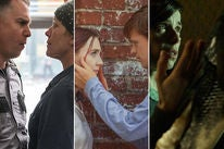 """Frances McDormand and Sam Rockwell in """"Three Billboards Outside Ebbing, Missouri""""/Saoirse Ronan and Lucas Hedges in """"Lady Bird""""/Sally Hawkins and Doug Jones in """"The Shape of Water"""""""