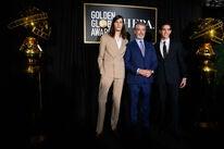 Dylan and Paris Brosnan, GG Ambassadors 2020, with father Pierce Brosnan