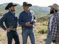 """Kevin Costner, Ian Bohen, and Denim Richards in """"Yellowstone"""" (2020)"""
