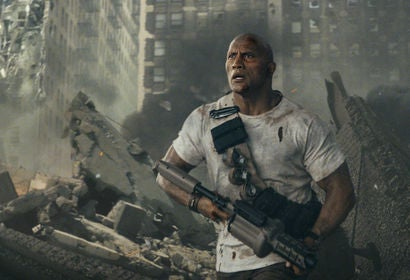 "ctor Dwayne Johnson ina scene from ""Rampage"""
