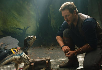 Chris Pratt in a scene from Jurassic World:Fallen Kingdom