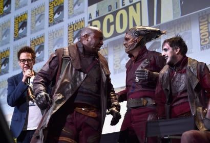 "Director James Gunn (L) and Ravagers from Marvel Studios' ""Guardians Of The Galaxy Vol. 2"" attend the San Diego Comic-Con International 2016 Marvel Panel in Hall H on July 23, 2016 in San Diego, California."
