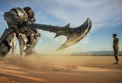A scene from Transformes:The Last Knight