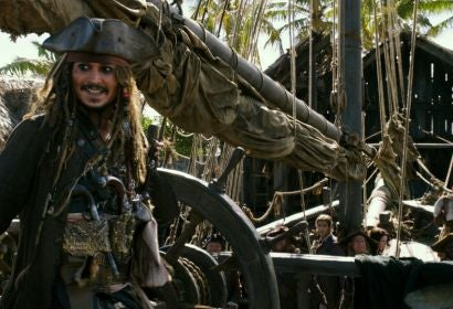 Johnny Depp in a scene from the film Pirates of the Caribbean-Dead Men Tell No Tales
