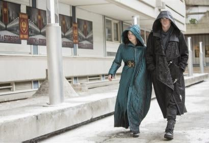 Jennifer Lawrence  and Liam Hemsworth in  Hunger Games: Mockingjay part 2