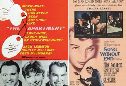 "Movie posters from ""The Apartment"" and ""Song Without End"""