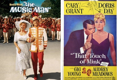 "Movie posters from ""The Music Man"" and ""That Touch of Mink"""