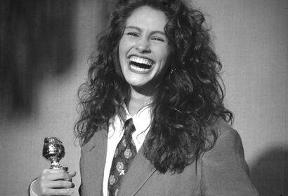 Actress Julia Roberts, Golden Globe winner, in 1990, with Golden Globe for Steel Magnolias, Best Supporting Actress