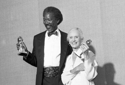 Morgan Freeman and Jessica Tandy at the 1990 Golden Globes