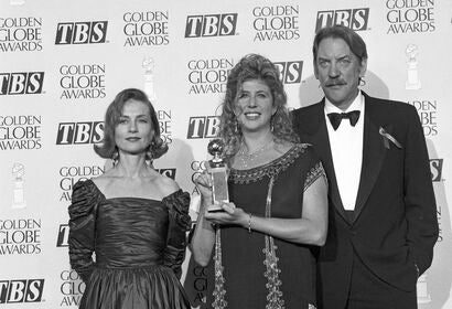 Writer Callie Khouri, with Isabelle Huppert and Donald Sutherland,1992