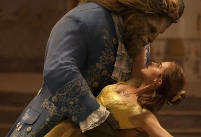 "Scene from ""Beauty and the Beast"" movie with Emma Watson and Dan Stevens"