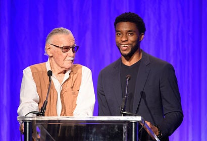 Actor Chadwick Boseman with Marvel creator Stan Lee, 2018