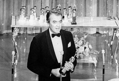 Actor James Stewart, Golden Globe winner, in 1965, with his Cecil B. deMille award