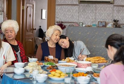 "Shuzhen Zhao, Hong Lu, and Awkwafina in ""The Farewell"" (2019)"