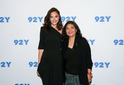 HFPA president Meher Tatna and actress Gal Gadot