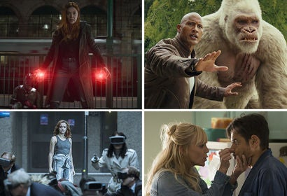 "Scenes from ""Avengers: Infitity War"", ""Rampage"", ""Ready Player One"" and ""Overboard"""