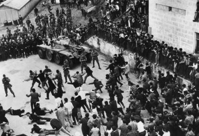 "A scene from ""The Battle of Algiers"", dir. Gillo Pontecorvo, 1966"