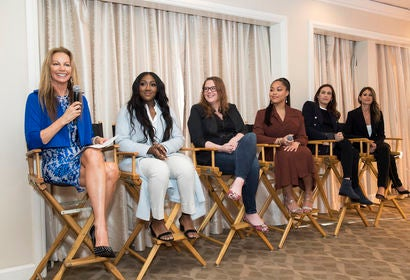 (l - r) HFPA moderator, Margaret Gardiner, Golden Globe Ambassador Isan Elba, Writer and Comedian, Alicia Lutes, lifestyle and body positivity advocate Jodyn Woods and the co-founders of the APP Mindsail - Elyse Colen and Lauren Wallack