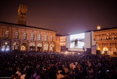 Chaplin's Modern Times screens at Bologna's Piazza Maggiore, June 2016
