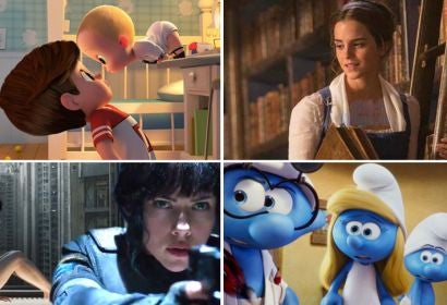 Scenes from The Boss Baby, Beauty and the Beast, Ghost in the Shell and Smurfs: The Lost Village