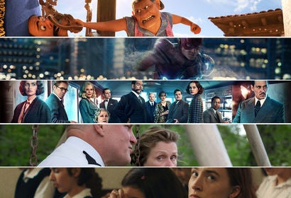 "Scenes from ""Coco"", ""Justice League"", ""Murder on the Orient Express"", ""The Billboards Outside Ebbing, Missouri"" and ""Lady Bird"""
