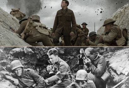 "Scenes from ""1917"" and ""All Quiet on the Western Front"""