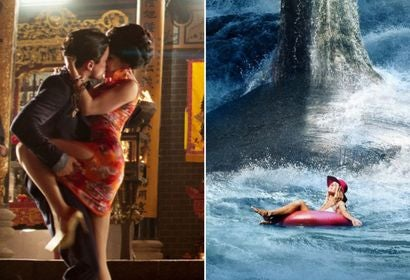 Scenes from Crazy Rich Asians and The Meg