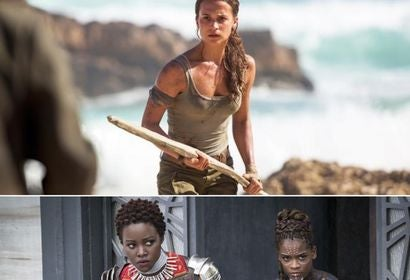 Scenes from Lara Croft Tomb Raider and Balck Panther