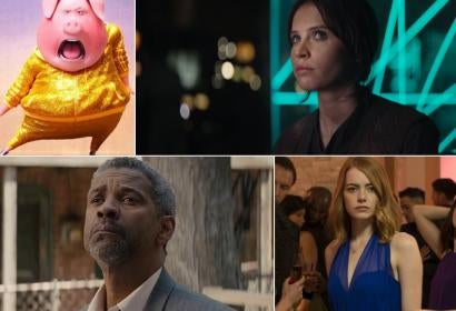 Scenes from Rogue One, La La Land, Sing, Fences