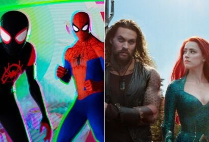"""Scenes from """"Spider-Man into the Spider-Verse"""" and """"Aquaman"""", 2018"""